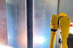 Automated overhead part arc spray