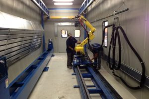 HVOF spray lathe with M20iA robot track